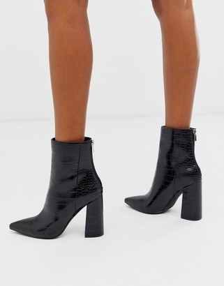 London Rebel pointed block heeled boot in black croc