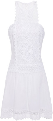 Charo Ruiz Ibiza Crocheted Lace-paneled Cotton-blend Voile Mini Dress