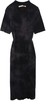 Raquel Allegra Belted Tee Dress in Black Tie Dye