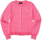 Ralph Lauren 7-16 Ruffled Cotton Cardigan