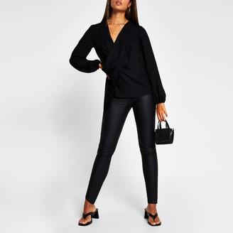 River Island Womens Black long sleeve drape front blouse