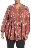 Melissa McCarthy Plus Size Women's Print Tie Waist Pintuck Blouse