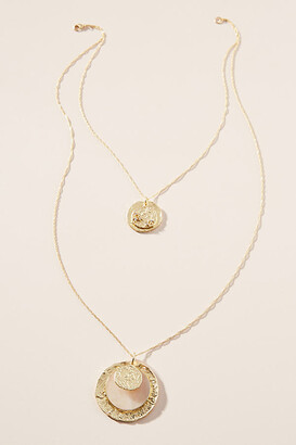 Anthropologie Layered Coin Pendant Necklace By in Gold Size ALL