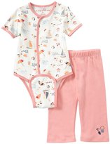 Magnificent Baby Seaside Bodysuit Pant Set (Baby) - Pink-6 Months