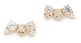 Adina White Sapphire Triple Stack Stud Earrings