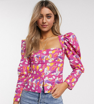 Reclaimed Vintage inspired waisted top with puff sleeve in pink floral print