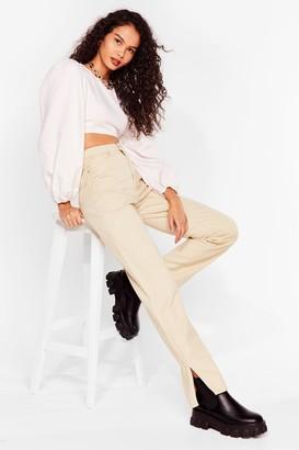 Nasty Gal Womens Get Over Slit Straight Leg Jeans - Beige - 6, Beige