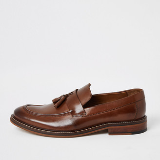River Island Brown leather tassel loafers
