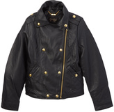 Black Zip-Up Faux Leather Jacket - Girls