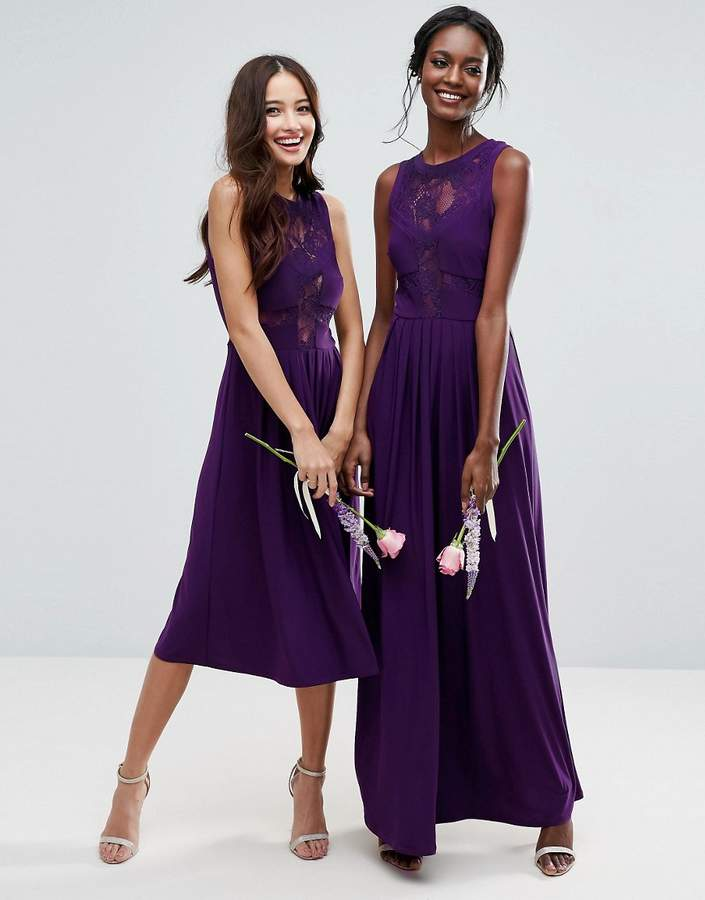 Asos Wedding Lace Jersey Pleated Maxi Dress