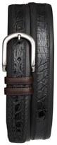 Mezlan 'Lipari' Nappa & Genuine Crocodile Leather Belt