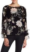 Lucky Brand Floral Pattern Ruffle Sleeve Blouse