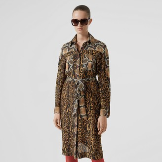 Burberry Cape Sleeve Animal Print Tie-waist Shirt Dress