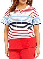 Allison Daley Plus Lace-Up Stripe Print Short Sleeve Knit Top