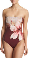 Carmen Marc Valvo Gilded Garden Bandeau One-Piece Swimsuit