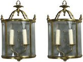 One Kings Lane Vintage Curved Glass Sconces, Pair