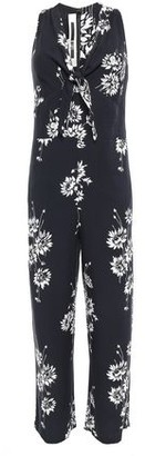 McQ Knotted Floral-print Twill Jumpsuit