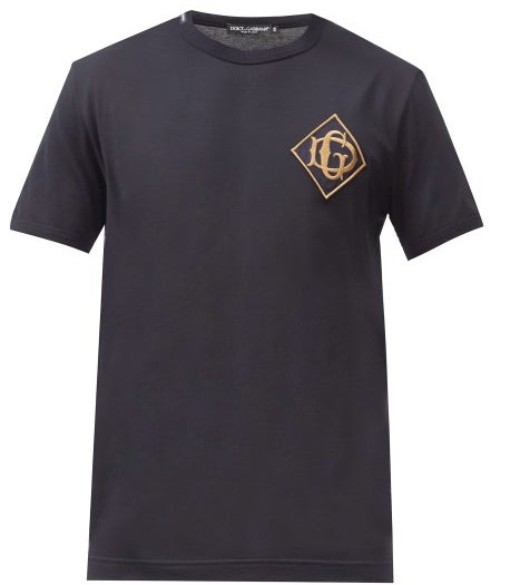 Thumbnail for your product : Dolce & Gabbana Monogram-embroidered Cotton-jersey T-shirt - Navy