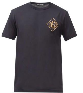 Dolce & Gabbana Monogram-embroidered Cotton-jersey T-shirt - Navy