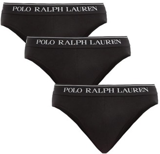 Polo Ralph Lauren Pack Of Three Stretch-cotton Briefs - Black