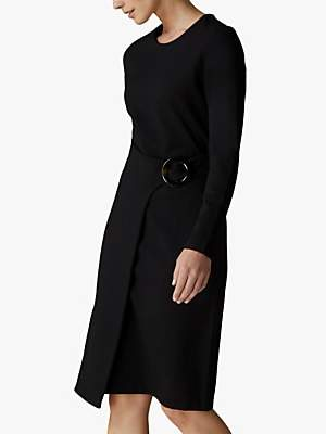 Jaeger Drape Waist Buckle Jersey Dress