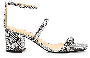 Alexandre Birman Women's Lally Ankle-Strap Snakeskin-Embossed Leather Sandals