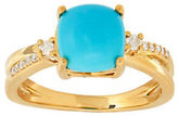 Lord & Taylor Turquoise, Diamond and 14K Yellow Gold Ring