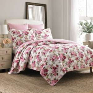 Laura Ashley King Lidia Pink Quilt Set Bedding
