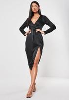 Missguided Black Satin Corset Detail Midi Dress