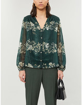 Ted Baker Eveliin floral-print metallic crepe shirt