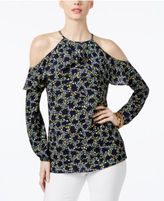 MICHAEL Michael Kors Hayden Printed Ruffled Cold-Shoulder Top, A Macy's Exclusive Style