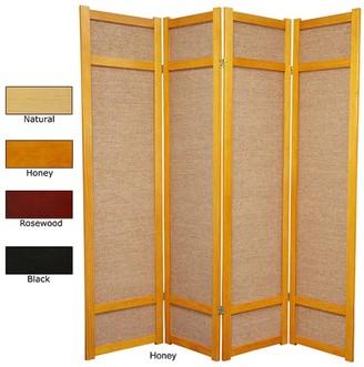 Oriental Furniture Handmade 6' Wood and Jute Room Divider