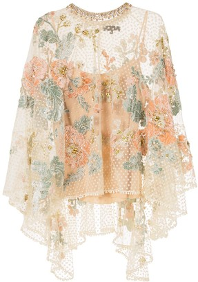Biyan Floral-Embroidered Tulle Poncho