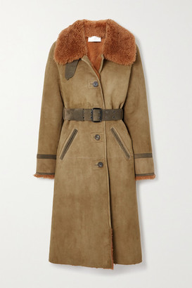 Chloé Belted Shearling-trimmed Suede Coat - Green