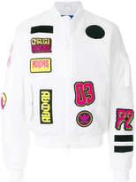 adidas logo patchwork bomber jacket