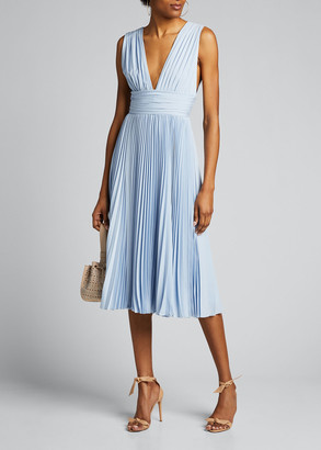 Badgley Mischka Deep V-Neck Sleeveless Pleated Midi Dress