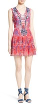 Saloni Women's Elodie Pleated Print Silk Dress