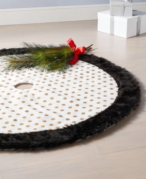 Holiday Lane Black, White & Gold Dot Tree Skirt, Created for Macy's