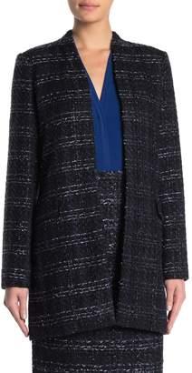 Calvin Klein Metallic Tweed Long Novelty Open Jacket