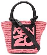 Kenzo small straw logo tote bag