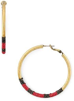 Area Stars Silk-Wrapped Hoop Earrings