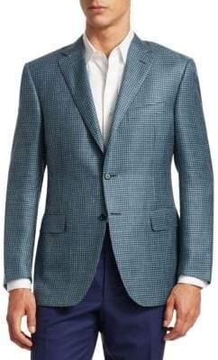 Canali Houndstooth Slim-Fit Wool, Silk & Linen Blazer