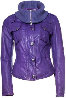 Dna Purple Leather Jacket for Women