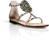 Emilio Pucci Natural Python Flats with Brooch