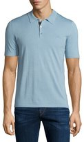 Burberry Short-Sleeve Check-Placket Polo Shirt, Pale Sky Blue