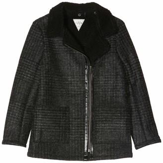 Ikks Junior Girl's Manteau Drap De Carreaux Col Perfecto Coat
