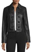 Diane von Furstenberg Sergeant Leather Military Jacket, black