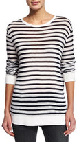 Alexander Wang Striped Linen-Blend Tee, Ink/Ivory
