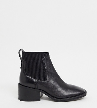 ASRA Exclusive Manth square toe chelsea boots in black leather