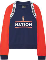 P.E Nation The Wembley Printed French Cotton-terry Sweatshirt - Navy